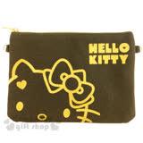 〔小禮堂〕Hello Kitty 手機斜背包《黑.金.大臉.愛心》附背鍊