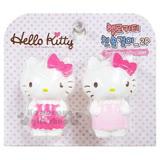 〔小禮堂〕Hello Kitty 造型吸盤式牙刷架《2入.粉桃.站姿.圍浴巾》單支收納