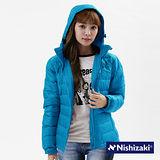 【西崎】中性款防潑水禦寒保暖羽絲絨外套(水藍L-XL)