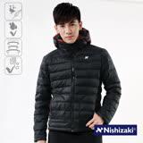 【西崎】中性款防潑水禦寒保暖羽絲絨外套(黑色 M-XL)