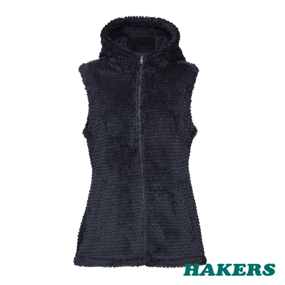 【HAKERS哈克士】女款 Polartec保暖刷毛背心(黑色)