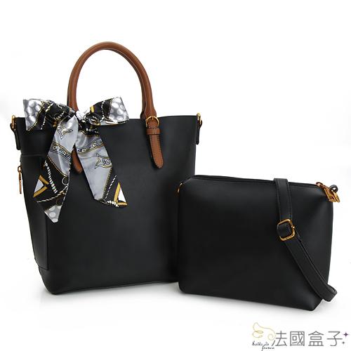 法國盒子  法式俏麗配色絲巾二用包(黑色)691