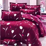 Carolan花之情-紅 雙人五件式精梳棉兩用被床罩組