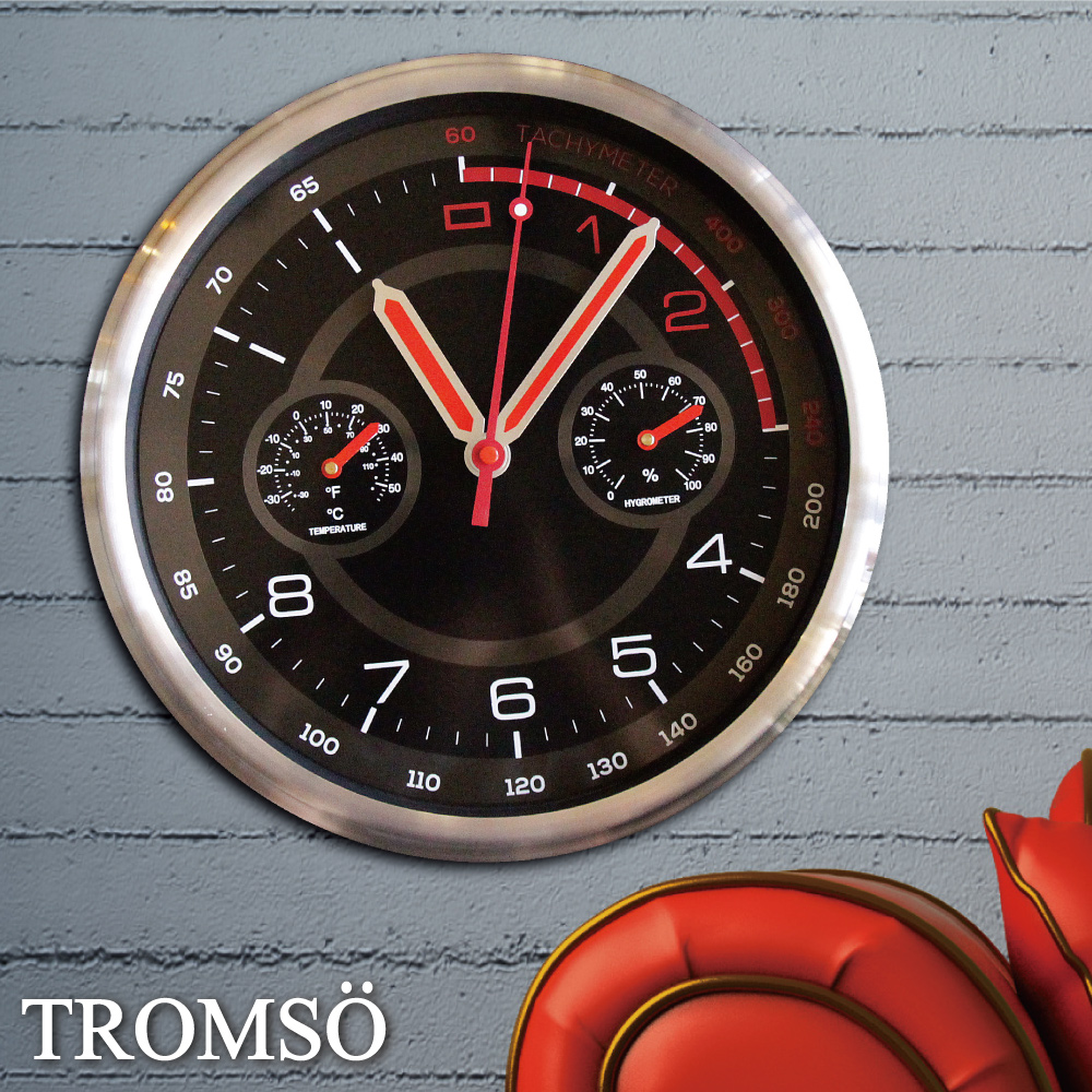 TROMSO風尚義大利金屬時鐘-超跑雙圈紅