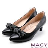 MAGY OL時髦氣場 親膚柔軟羊皮蝴蝶結高跟鞋-黑色
