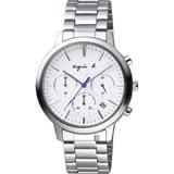 agnes b. 自由國度三眼計時手錶 -白x銀/40mm VD53-KJC0S(BT3035X1)