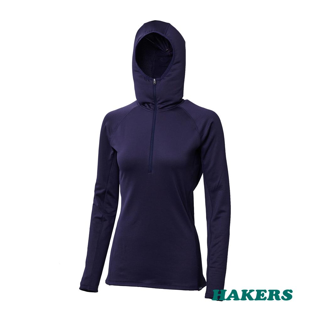 【HAKERS哈克士】女款 Smart Skin Warm 半開襟保暖透氣衫(深藍)