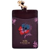 COACH 燙銀LOGO花卉圖騰防刮皮革掛式證件票卡夾-紫紅