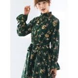 日本ANNA LUNA 預購-復古抽褶高領不規則裙擺碎花洋裝(共二色/M-LL)