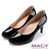 MAGY 氣質魅力款 嚴選素面牛皮氣質露趾高跟鞋-黑色