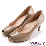 MAGY 氣質魅力款 嚴選素面牛皮氣質露趾高跟鞋-可可