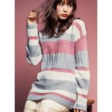 日本ANNA LUNA 預購-織紋變化配色條紋針織上衣(共二色/M-LL)