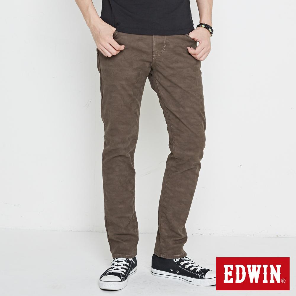 EDWIN EDGE迷彩窄直筒牛仔褲-男-灰綠色