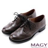 MAGY 英倫學院風 經典花邊綁帶真皮牛津鞋-灰色