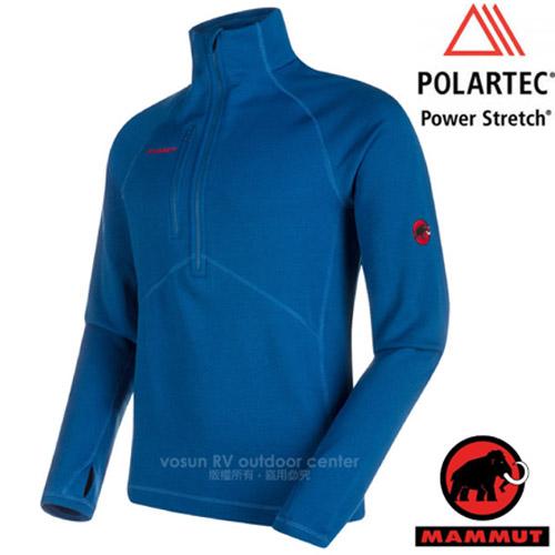 【瑞士 MAMMUT 長毛象】男款 Aconcagua 超強抗磨彈性透氣速乾保暖排汗衣(Polartec Power Stretch Pro)中層刷毛衣.登山/01261-5967 群青藍