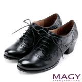 MAGY 英倫學院風 蠟感花邊綁帶真皮粗跟牛津鞋-黑色