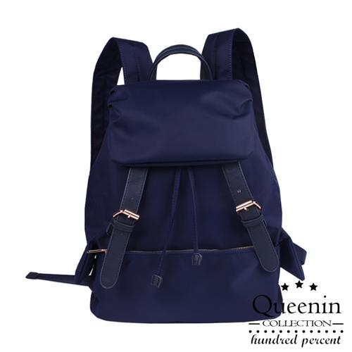 DF Queenin日韓 - 韓版人氣尼龍雙皮飾後背包-深藍