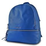 MICHAEL KORS 專櫃款 牛皮銀字LOGO拉鍊後背包-寶藍色/LG