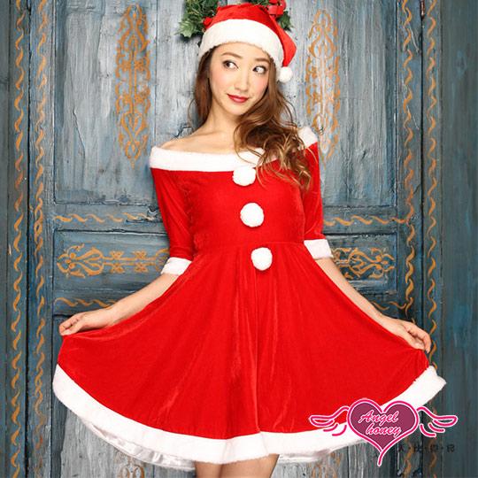 【天使霓裳】耶誕服 精靈寶貝 聖誕舞會角色扮演服連身裙(紅F)