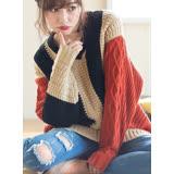 日本ANNA LUNA 預購-圖案變化配色長版針織上衣(共二色/M-LL)