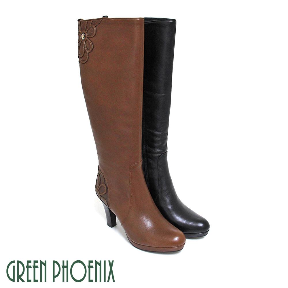 ~GREEN PHOENIX~輕熟優雅金屬扣花朵壓花紋全真皮高跟長靴