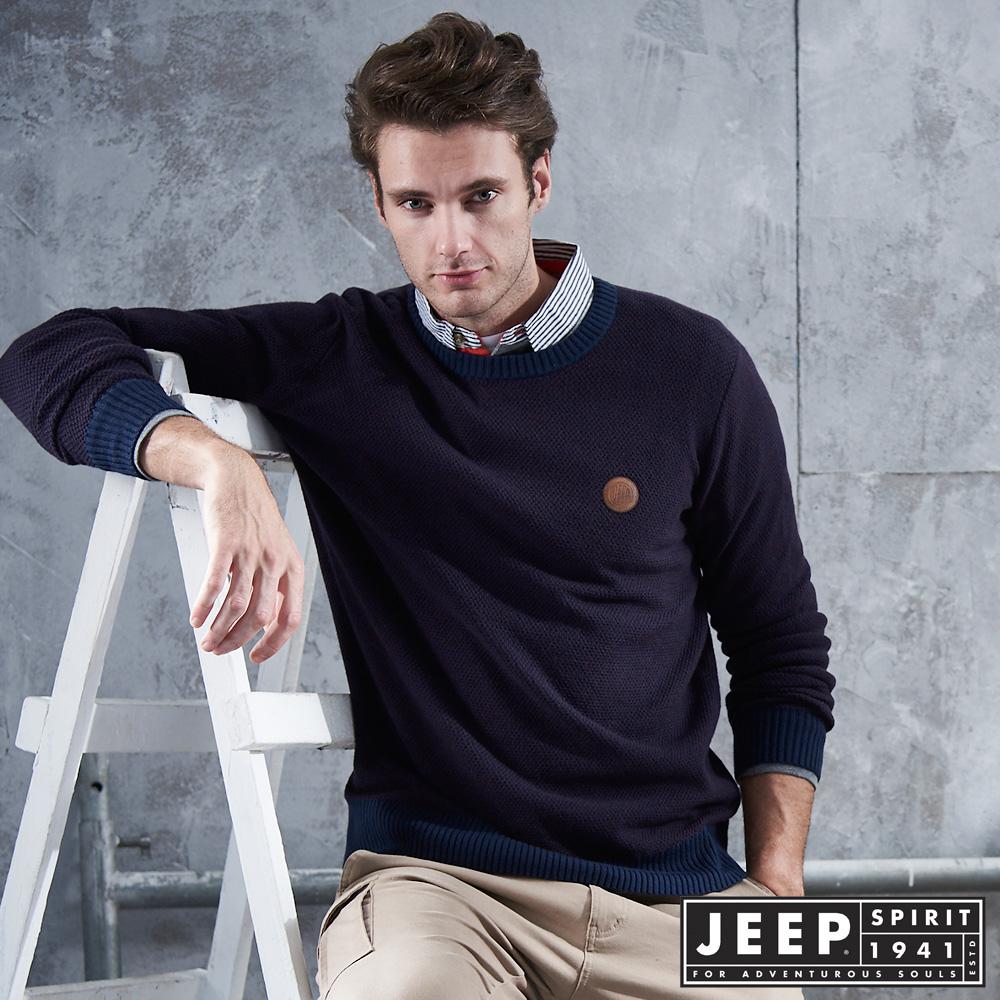 【JEEP】質感圓領刷毛長袖針織衫 (藍紫)