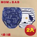 (購物車)【MOM AND BAB】深藍狗狗 三層防水學習褲-兩入組(6~14公斤)
