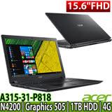 Acer A315-31-P818 15.6吋HD/N4200/Win10 黑色筆電-加碼送ACER原廠後背包~三合一清潔組~舒適滑鼠墊~鍵盤保護膜