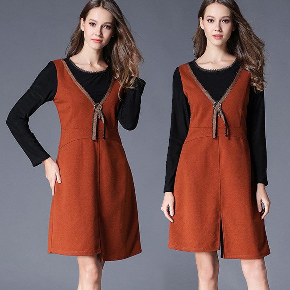 【麗質達人中大碼】7424加絨保暖假二件洋裝(XL-5XL)