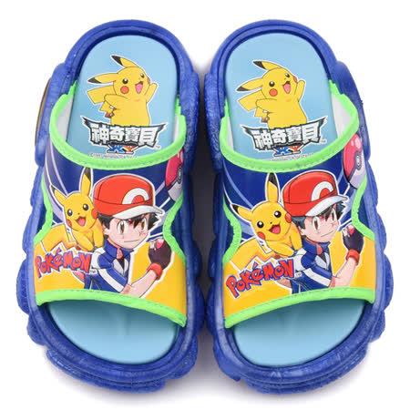 童童鞋城堡-神奇寶貝(寶可夢) 中童 小智戶外拖鞋PA1717-藍