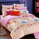【粉妙樂園】加大全舖棉四件式二用被床包組