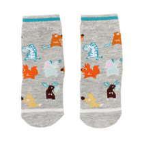 【愛的世界】LOVEWORLD 動物樂園半統止滑透氣襪(灰色)-台灣製-