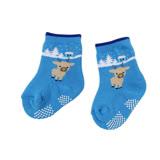 【愛的世界】LOVEWORLD 可愛小鹿止滑透氣毛巾襪(淺藍色)-台灣製-