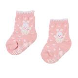 【愛的世界】LOVEWORLD 小兔與雲止滑透氣毛巾底襪(粉紅色)-台灣製-