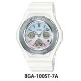 CASIO卡西歐 Baby-G 漸層色彩星空休閒錶-粉白/BGA-100ST-7A