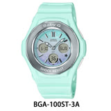 CASIO卡西歐 Baby-G 漸層色彩星空休閒錶-粉綠/BGA-100ST-3A