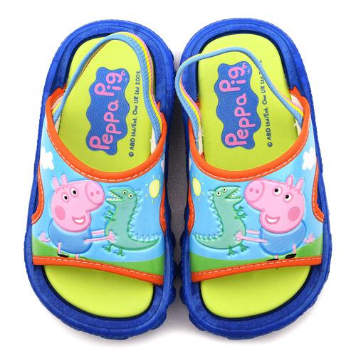 童鞋城堡-粉紅豬小妹 喬治豬 中童 小恐龍戶外拖鞋PG0027-藍