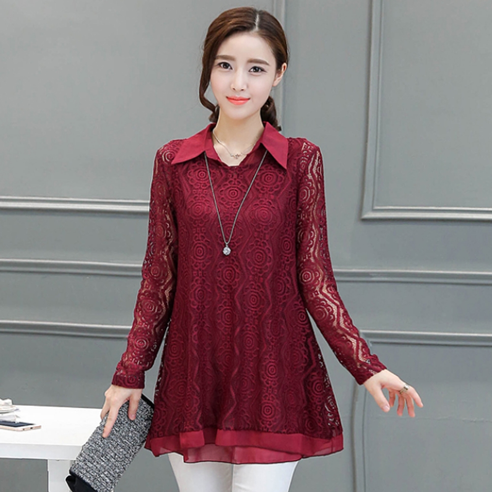 【俏可時尚】韓系中大碼都會翻領花形蕾絲長袖長版衫兩件套組9608