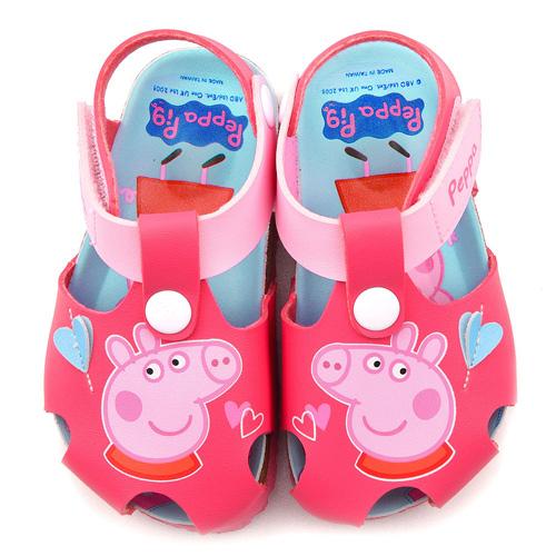 童鞋城堡-佩佩豬 中童 前包式護趾軟木風格涼鞋PG4519-桃
