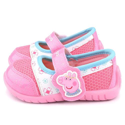 童鞋城堡-佩佩豬 中童 小豬造型透氣休閒鞋PG8518-粉