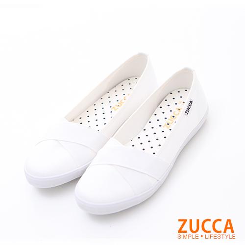 ZUCCA【z6212we】素面拼接交錯皮革平底鞋-白色