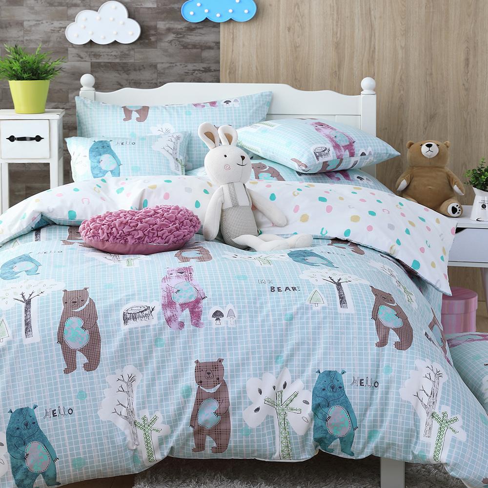 OLIVIA 《  小熊森林 藍 》 特大雙人床包被套四件組 童趣系列