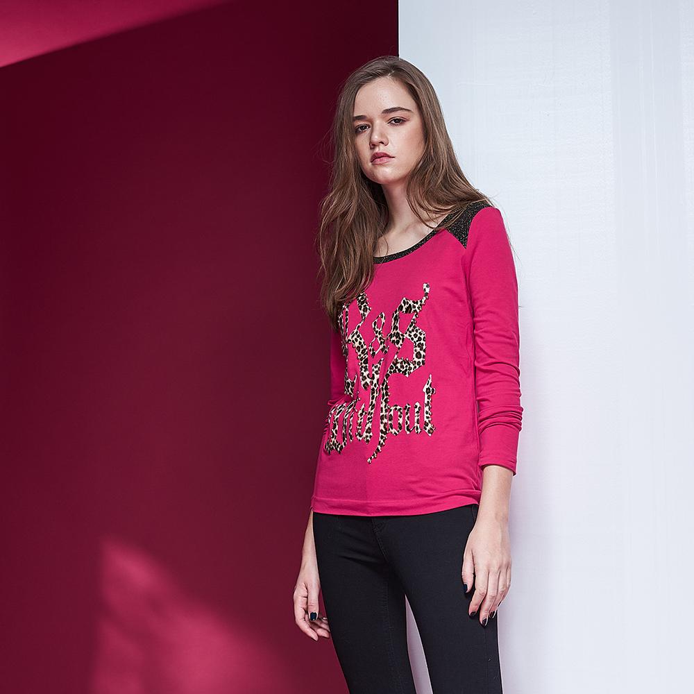 ICHE衣哲 時尚豹紋印花拼接修身百搭造型上衣-桃紅