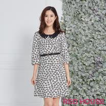 RED HOUSE 蕾赫斯-圓領滿版花朵洋裝(米白色)