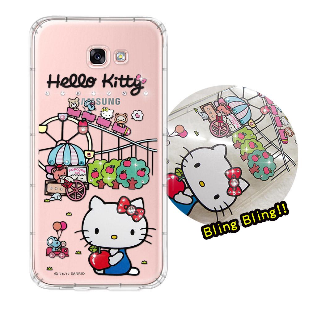 三麗鷗授權 Hello Kitty 三星 Samsung Galaxy A7(2017) 夢幻童話 彩鑽氣墊保護殼(遊樂園)