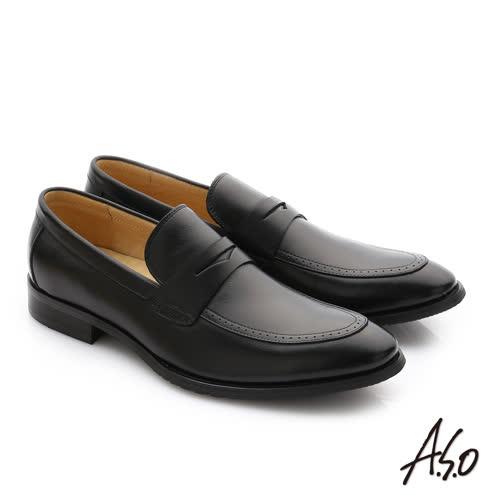 A.S.O 職人通勤 牛皮經典圓楦直套紳士皮鞋(黑)
