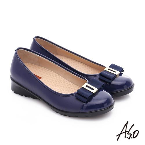 A.S.O 挺麗氣墊 鏡面牛皮蝴蝶結飾奈米氣墊鞋(藍)