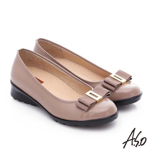 A.S.O 挺麗氣墊 鏡面牛皮蝴蝶結飾奈米氣墊鞋(卡其)
