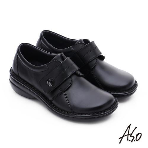 A.S.O 手縫氣墊-3E寬楦 魔鬼氈圓飾扣氣墊鞋(黑)