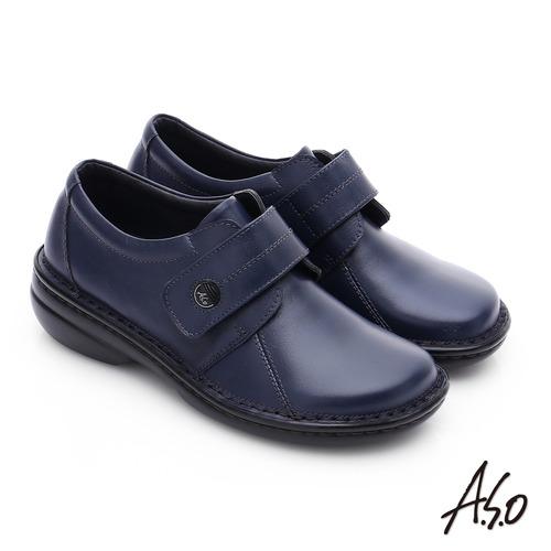 A.S.O 手縫氣墊-3E寬楦 魔鬼氈圓飾扣氣墊鞋(藍)